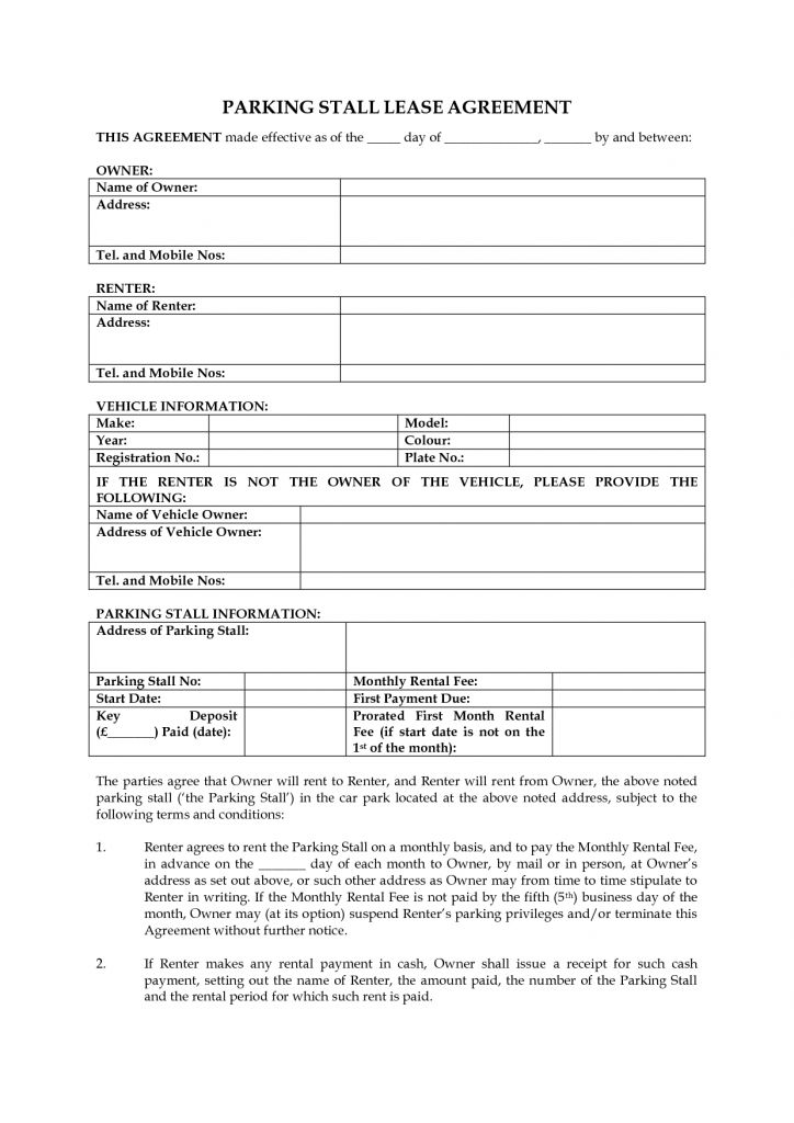 Free Rental Agreement Template Word Fax Sheet Example Cash Payment ...