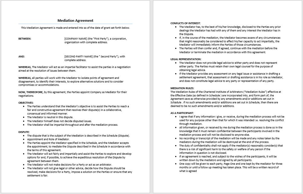 Mediation Agreement Template | Microsoft Word Templates