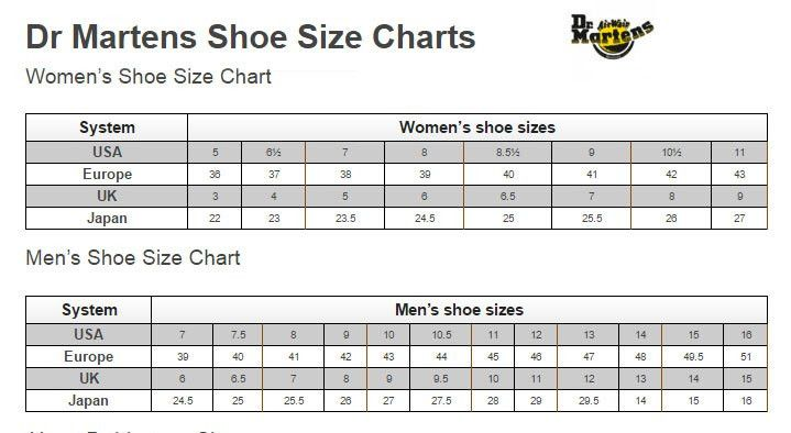 This is Dr Martens official shoe size charts for women and men ...