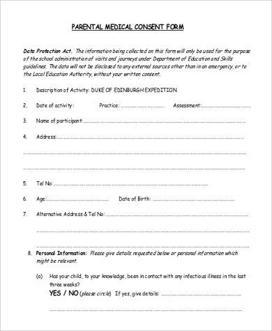 Sample Parental Consent Form - 9+ Examples in PDF
