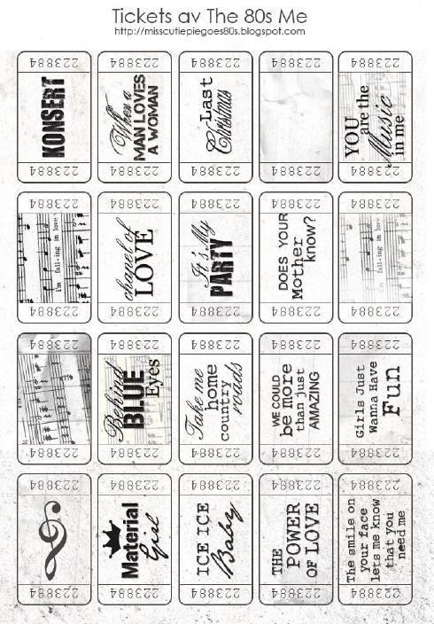 Free printable Tickets that would be so cute for journaling ...