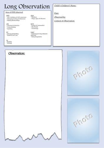 EYFS - Long Observation Form EYFS assessment template ...