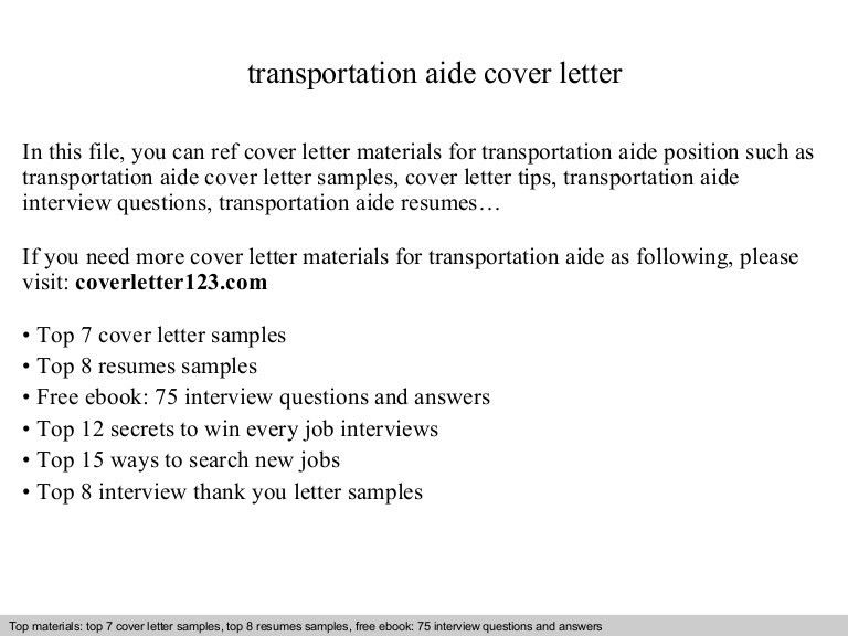 Transportation aide cover letter