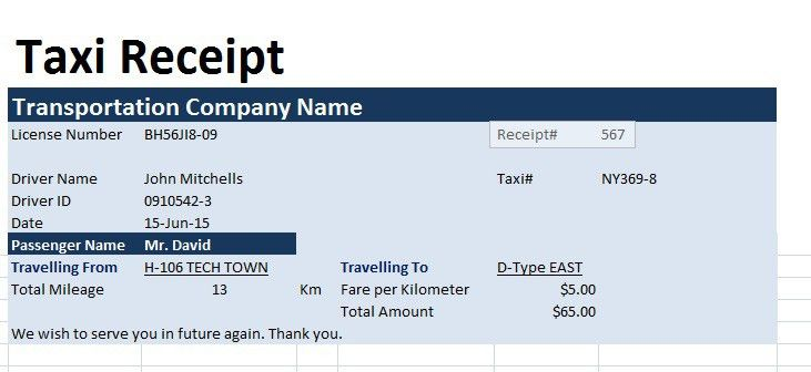Taxi Receipt Template - Word Excel Formats