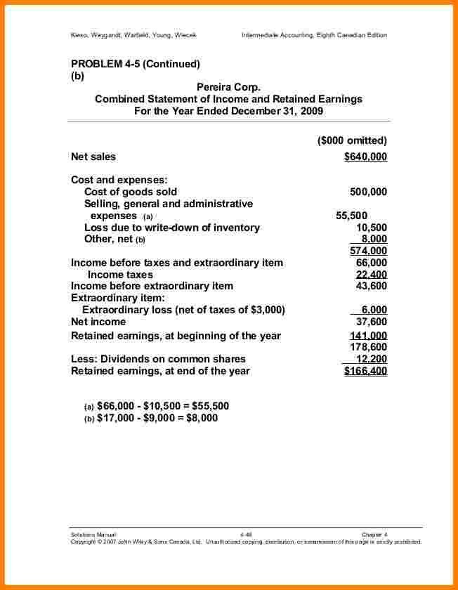 11+ statement of income and retained earnings format | Case ...
