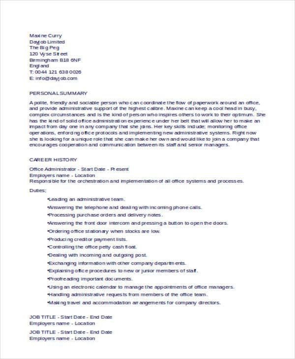 25+ Basic Administration Resumes | Free & Premium Templates
