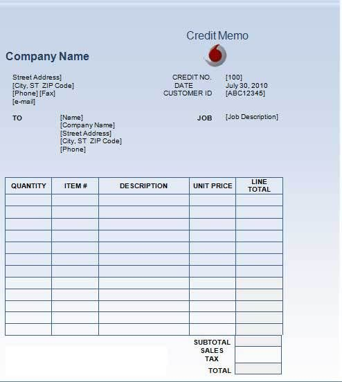 7+ Best Credit Note Template Excel & Word-PDF | Template124