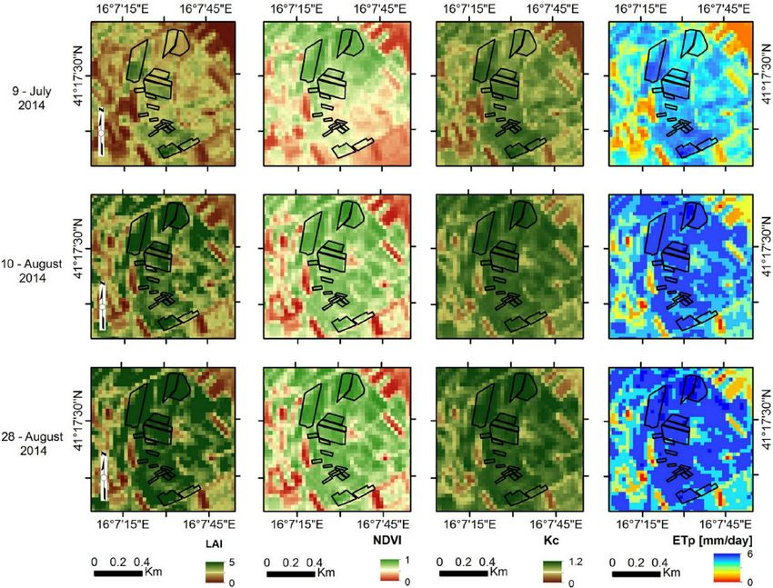 An example of time-series maps of LAI, NDVI, K c , and ET p for ...