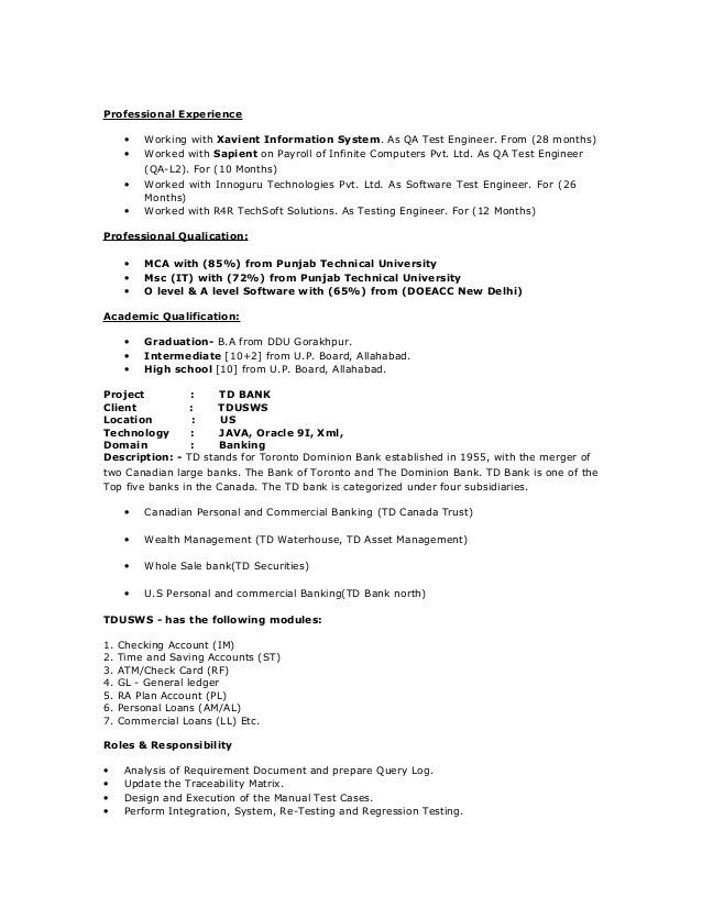 manual testing resume manual testing resume format samples resume