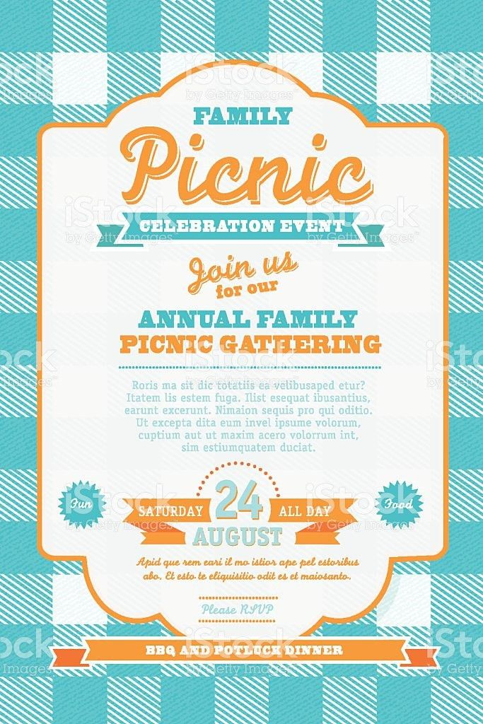 Picnic Invitation Design Template Blue And Orange stock vector art ...