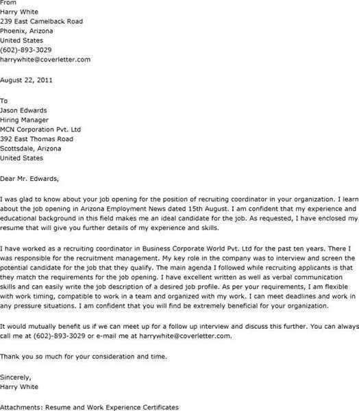 Cover Letter For Recruiter - My Document Blog