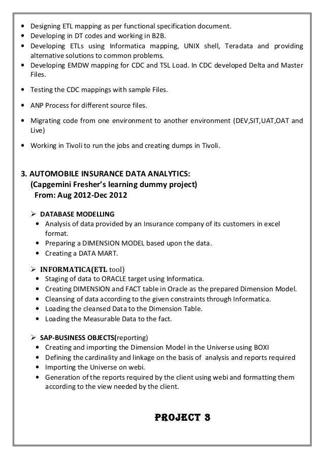 informatica resume professional informatica developer templates