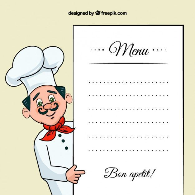 Chef illustration with a menu template Vector | Free Download