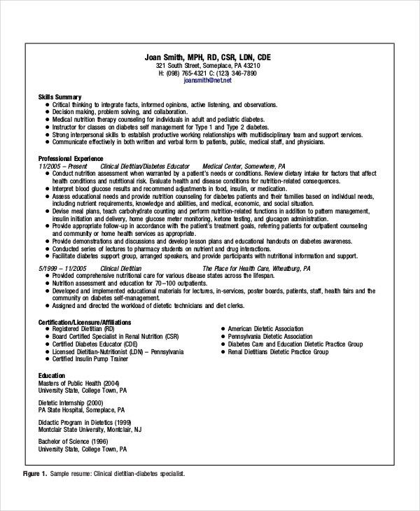 Registered Dietitian Resume | Samples.csat.co