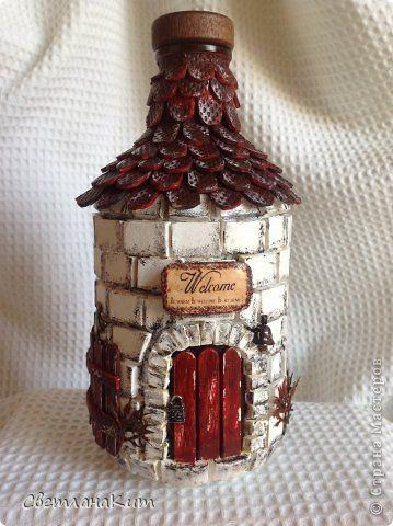 Декоративные домики из бутылок мастер класс