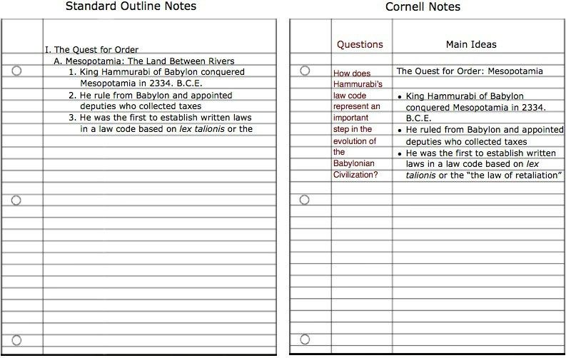 cornell notes template microsoft word