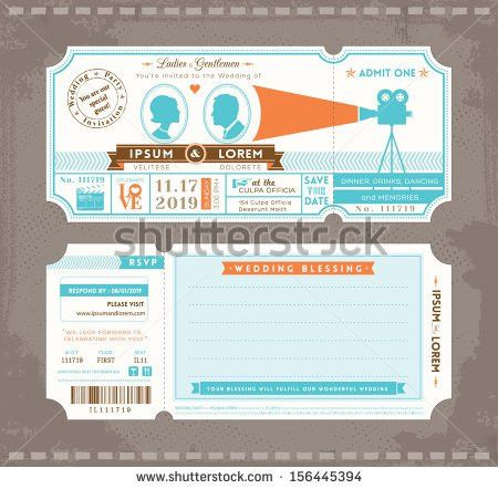 Vector Movie Ticket Wedding Invitation Design Stock Vector ...