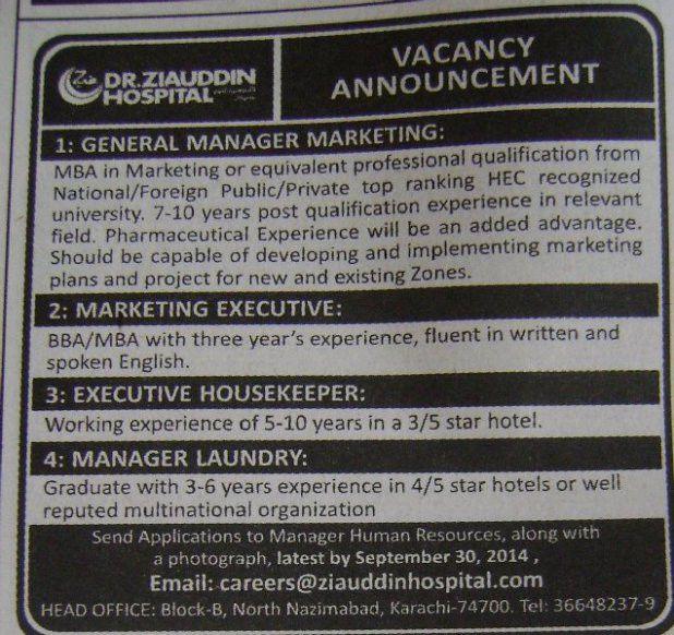 Housekeeper Job, Dr Ziauddin Hospital Job, Marketing Executive ...