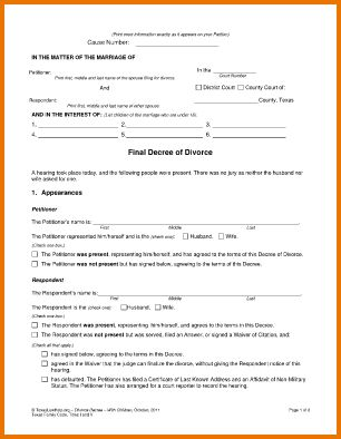 4 blank divorce papers | Divorce Document