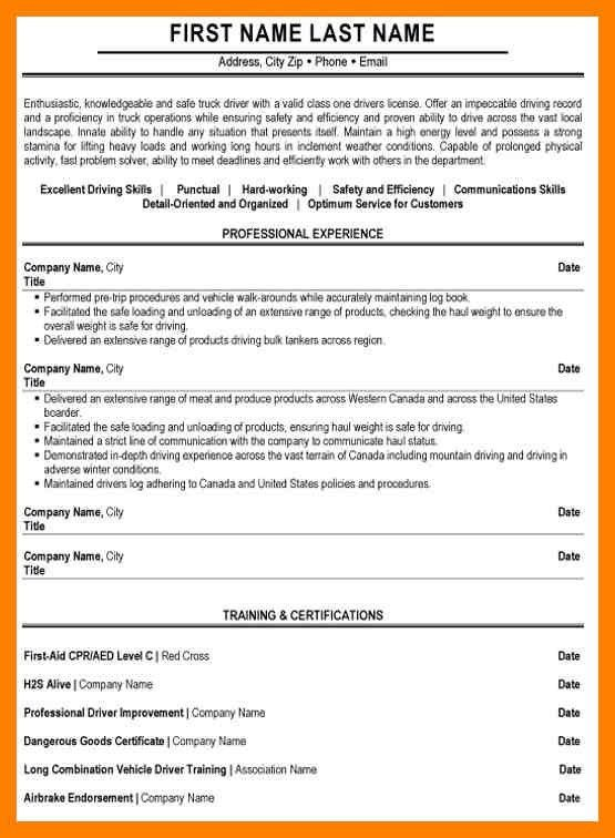 Truck Driver Resume Sample Canada. unforgettable delivery driver ...