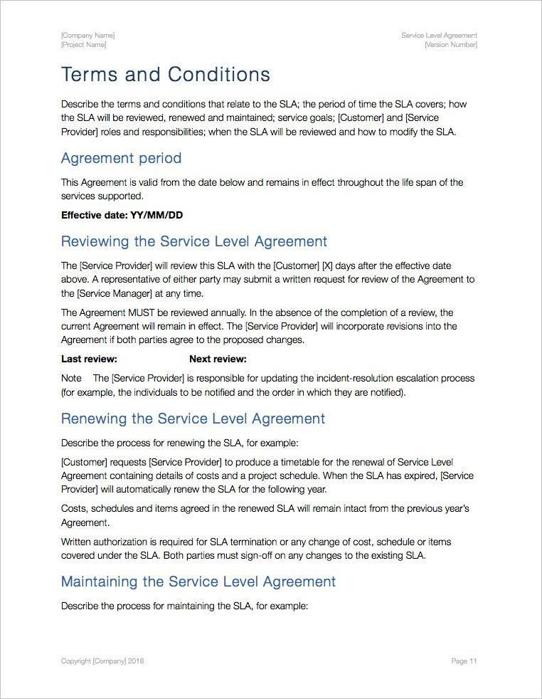 Service Level Agreement Template (Apple iWork Pages/Numbers)