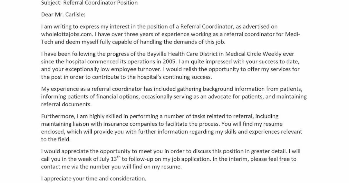 Cover Letter Employee Referral] Referral Cover Letter Email Sample .