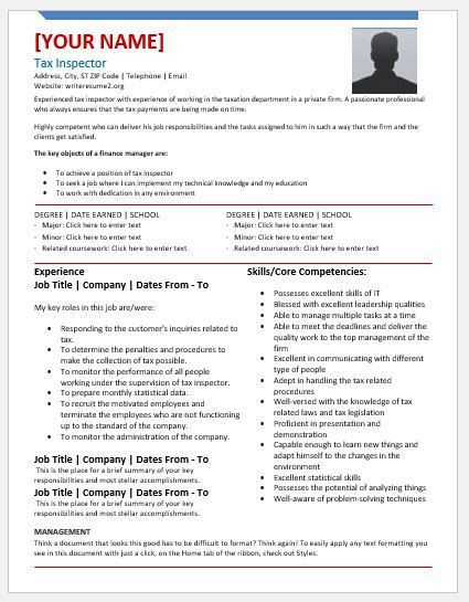 Tax Inspector Resume Templates for MS Word | Resume Templates
