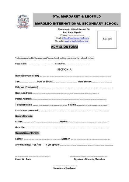 Margleo-School: Margleo's Admission Form for Entrance into JSS 1 ...