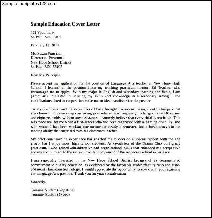 sample education cover letter