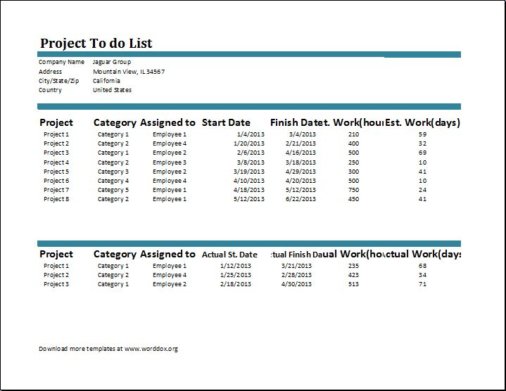 Project To Do List Template | Word Document Templates