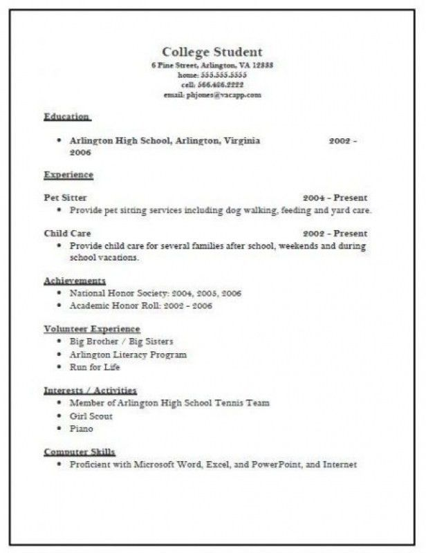 example of resume for college application. Resume Example. Resume CV Cover Letter