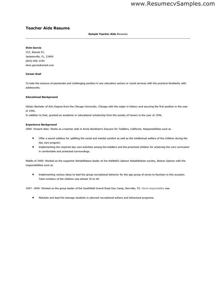 sample teacher aide resume template. teachers aide cover letter ...