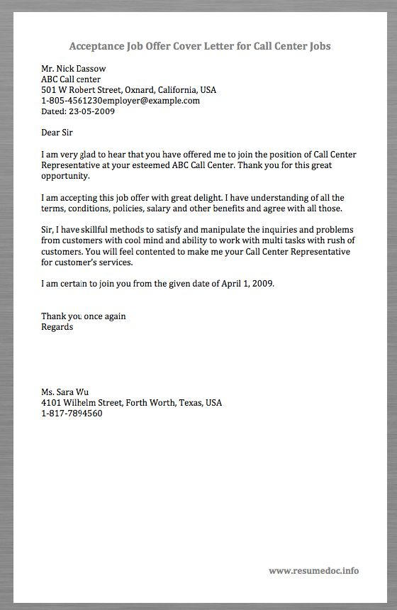 Here is a Sample Acceptance Job Offer Cover Letter for Call Center ...