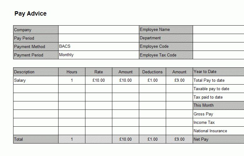 Impressive Company Pay Slip Template Example with Table for ...