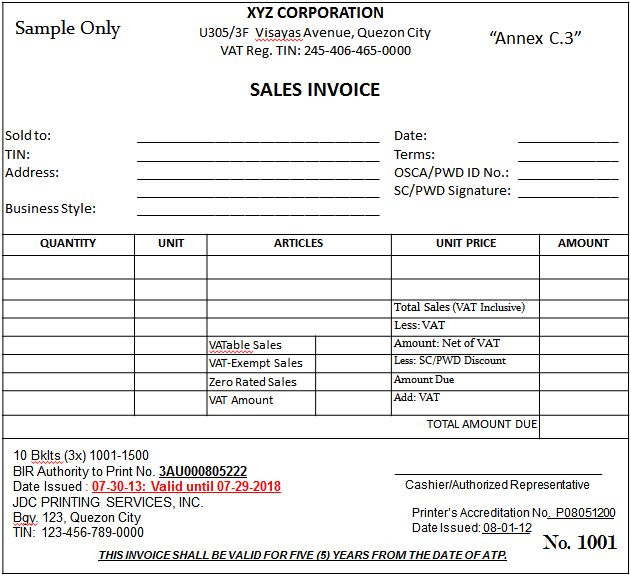 BIR: BIR's New Invoicing Requirements effective June 30, 2013