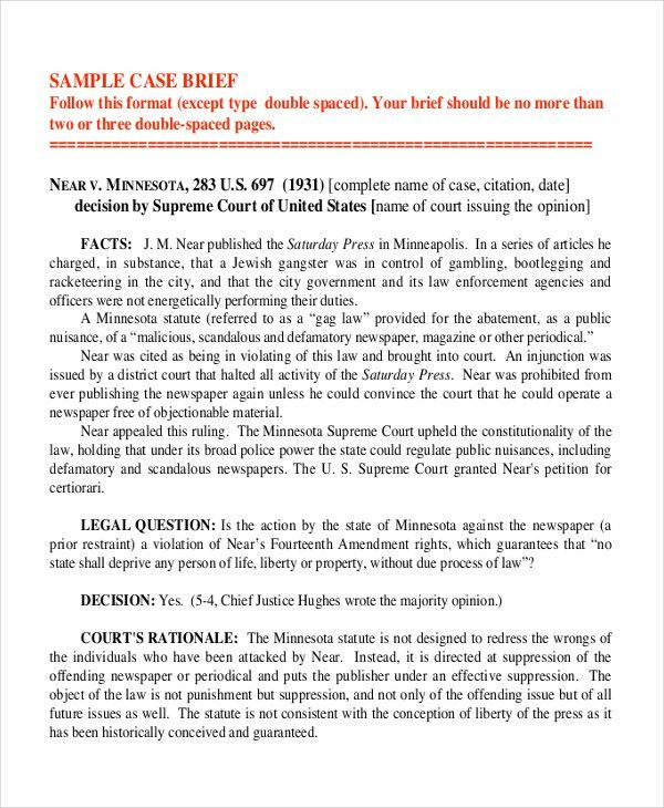 Legal Brief Template] Case Brief Template Cyberuse, Legal Brief ...