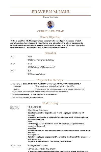 Hr Generalist Resume samples - VisualCV resume samples database