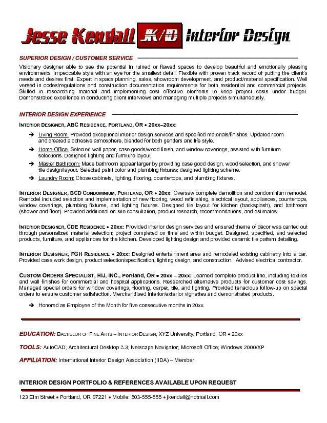 Free Interior Designer Resume Example