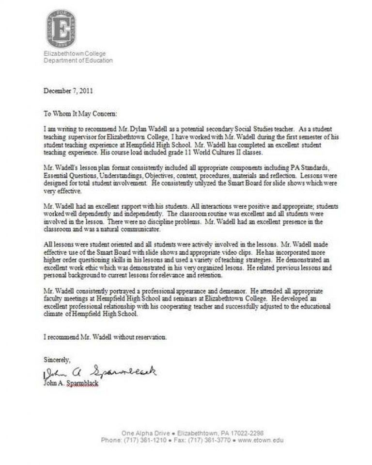 letter of recommendation for a highschool student from a teacher