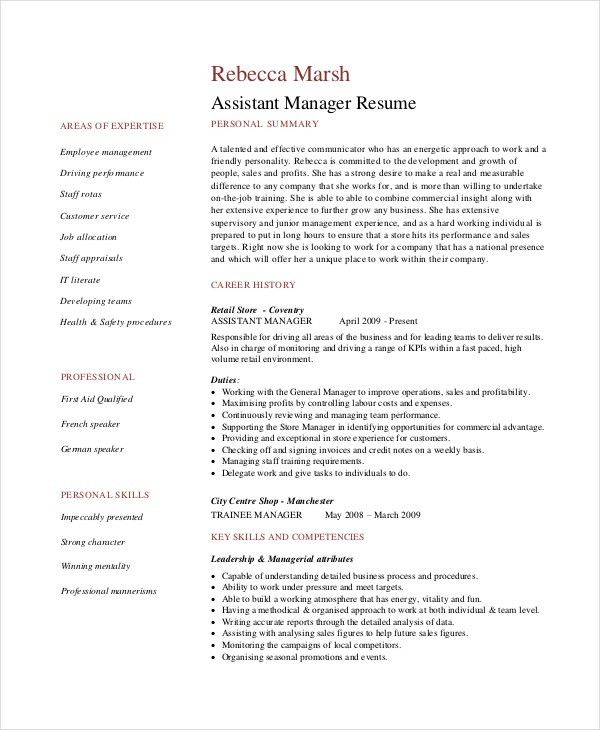 Resume Example Retail. Sales Assistant Cv Example, Shop, Store ...