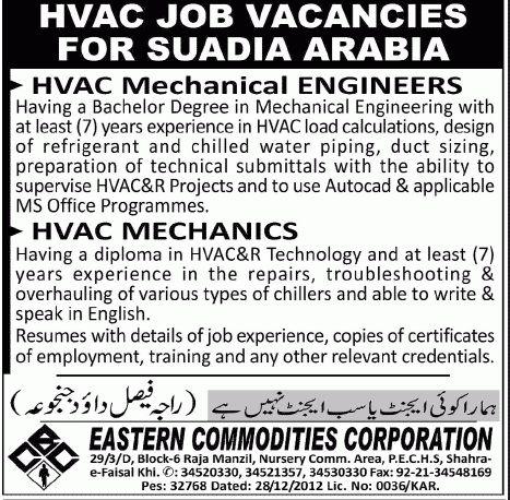 Mechanics job, HVAC Saudi Arabia Job, HVAC Mechanical Engineers