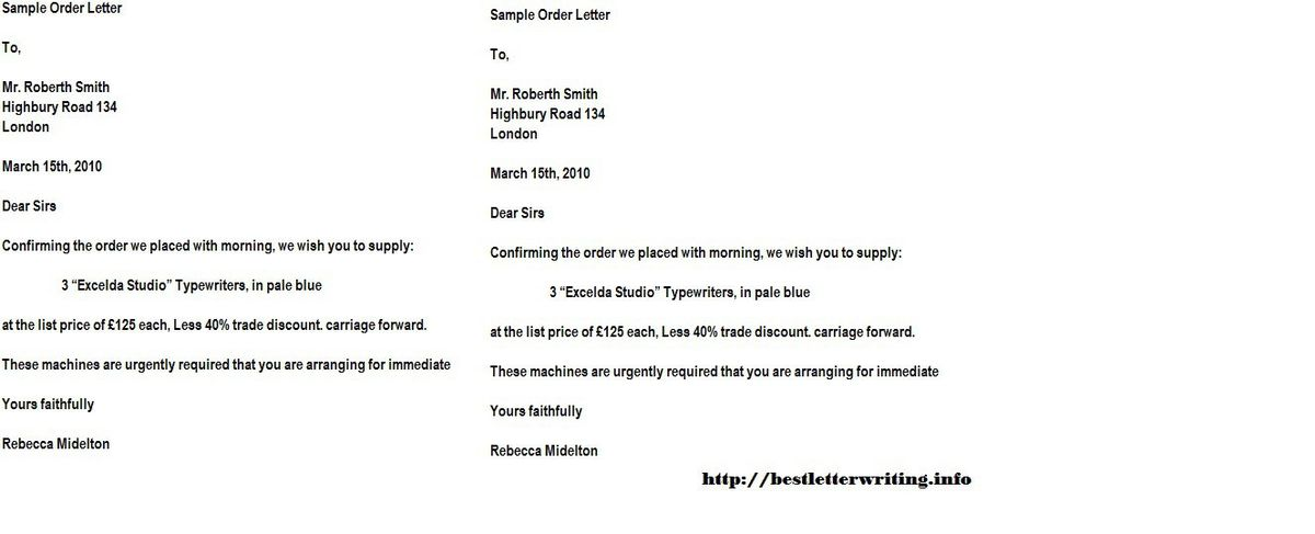 Order Letters | business letter examples