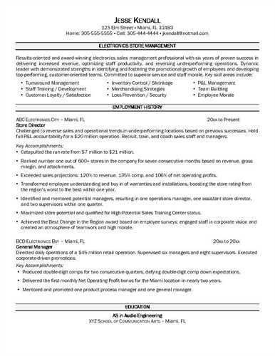 Resume Sample: Retail Store Manager Resume Samples Grocery Store ...
