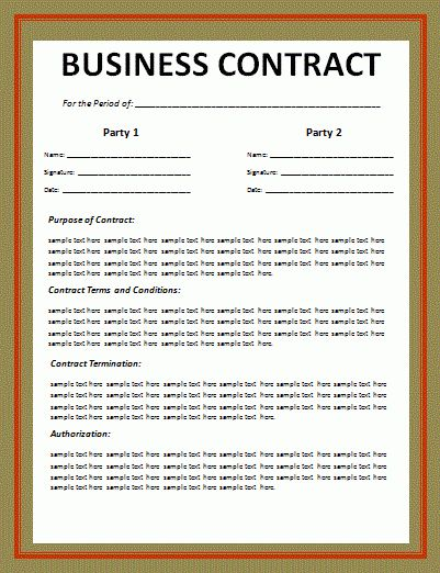 8+ Business Contract Template | Timeline Template