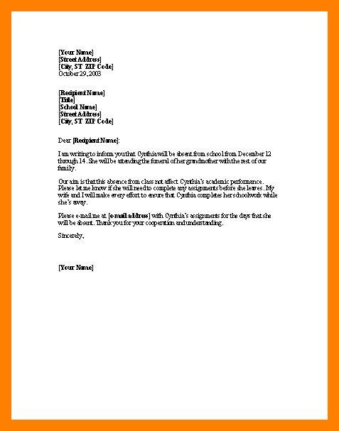 9+ leave letter format for school | resume language