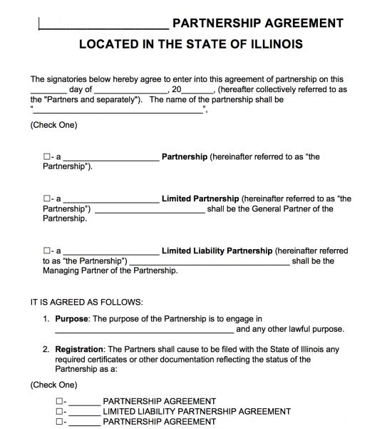 Free Illinois Partnership Agreement Template | PDF | Word |