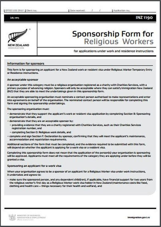 INZ1190 Sponsorship Form for Religious Workers - All Immigration ...
