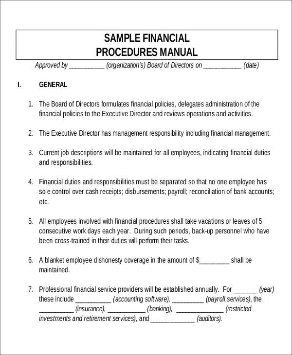 Policy Manual Template. Sample Financial Procedures Manual ...