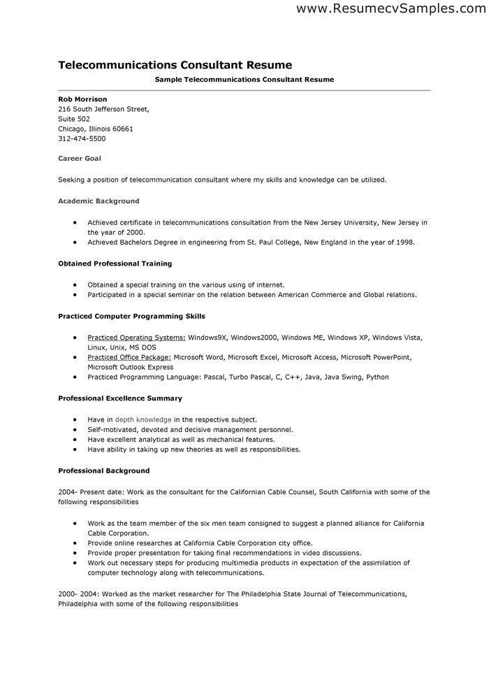 sample telecommunications consultant resume technician resume