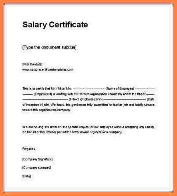 6+ format of salary certificate in word | Simple salary slip